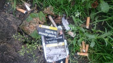 捨てられたタバコ