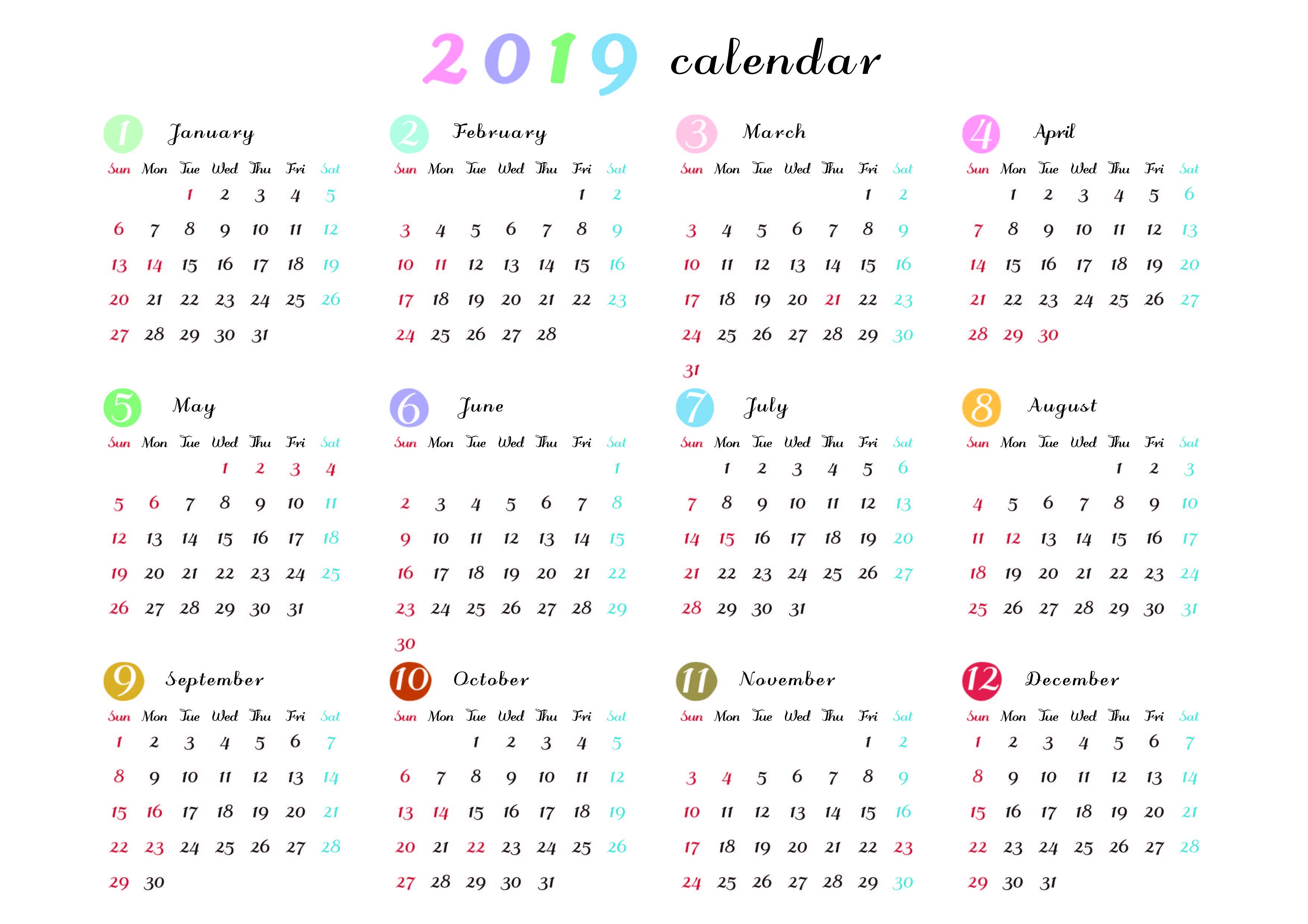 no,00025】横向きの1月から12月までの1年間分を入れた年間