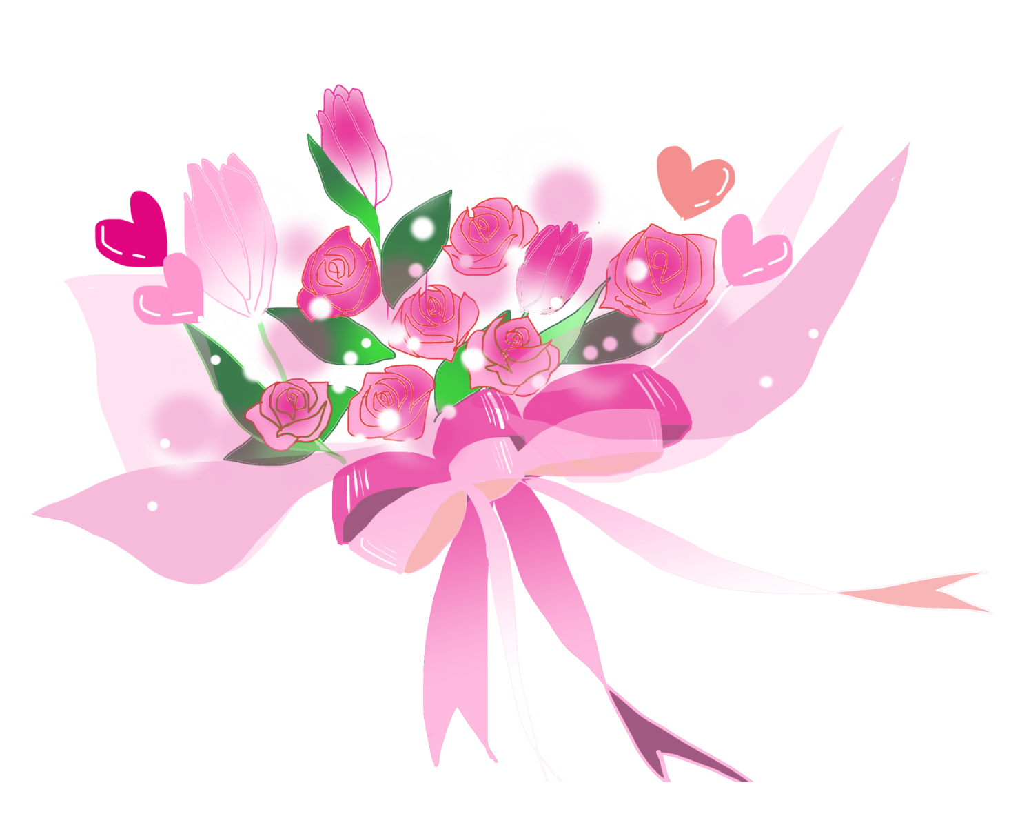 ハートが咲き誇るキュートな花束