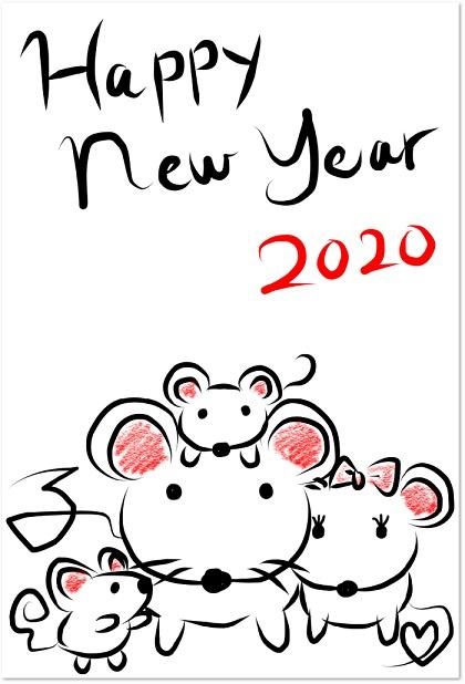2020年!家族ネズミの年賀状