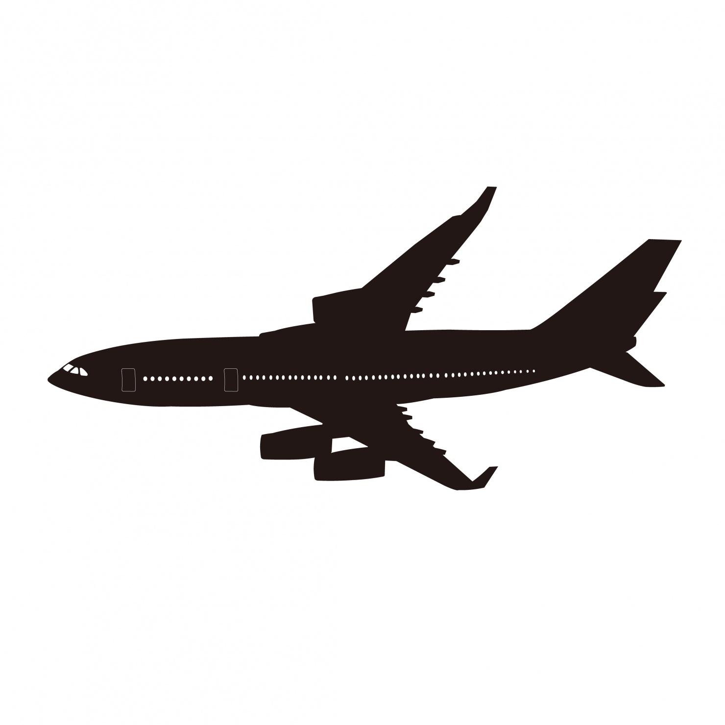 白黒の飛行機イラスト
